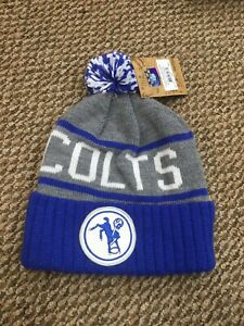 NWT Indianapolis Colts Mitchell & Ness Winter Pom Knit Hat Cap New With Tags