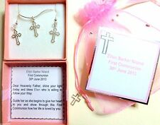 First (1st) Communion Small Silver Cross +Chain +Earrings +Personalised Gift Box