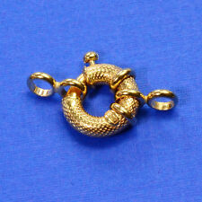 14MM 14k Solid Yellow Gold Designer Italy Spring Ring Clasp CLOSED