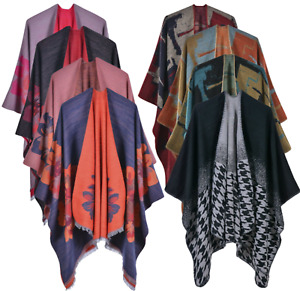 Women Ladies Knitted Open Poncho Cape Blanket Winter Tassels Wrap Shawl