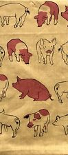 Pig Kitchen Towel | Cotton | Natural Beige Brown | Hogs Farm | Pictorial