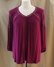 Liz Claiborne Woman, 1X, Berry Purple Knit Top, New with Tags