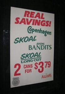 Original 1980s ALLSUP'S SKOAL BANDIT COPENHAGEN Advertising Poster NASCAR