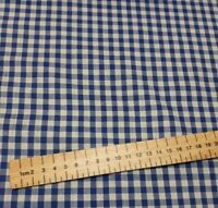 1/4 inch Gingham Blue Polycotton Fabric 44 inch / 110cm Half Metres white check