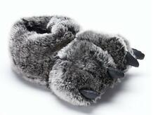Boys Girls BEAR CLAW Stuffed Plush Slippers Size S/M 11/12  NWT faux fur monster