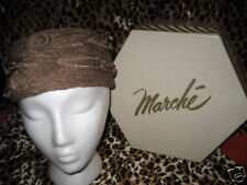 Vintage 1950 60s Marche' Brown Straw Cellophane Pillbox Hat Box Retro Union Made