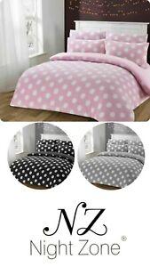 Polka Dot Teddy Bear Fleece Bedding Duvet Cover Set With Pillow Cases Soft Size