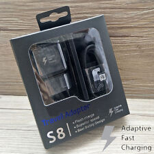 Black Authentic Fast EU Wall Charger Adapter Set For Samsung Galaxy S9 S9 Plus