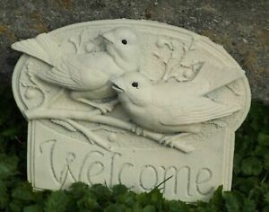 Latex Mould Garden Ornament Welcome Birds Wall Plaque Concrete  IN STOCK REF C