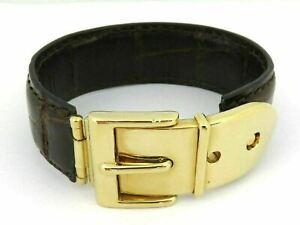 GUCCI Dark Brown Leather Gold Tone Metal Bangle Bracelet