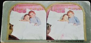 """Antique Stereograph Card - #24, """"Sand Man's Coming""""- 1900's"""