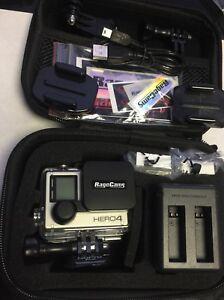 GOPRO HD HERO4 BLACK CAMERA HELMET CAM 16GB CARRY CASE LENS CAPS 2 BATTERIES CHG