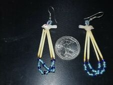 2 Vintage Dangle Earrings 1 With Porcupine Quills and MOP Bird Fetish .