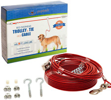 Runner For Dog Run Cable 100 ft Heavy Weight Tie Out up to 125lbs Steel Red