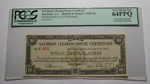 $10 1933 San Diego California Clearing House Obsolete Currency Certificate PCGS
