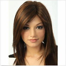 Fashion wig New sexy Women's Medium long Dark Brown Straight Natural Hair wigs
