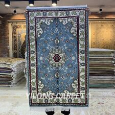 Yilong 2.5'x4' Blue Hand Woven Area Rug Living Room Handmade Silk Carpet 134C