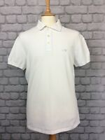 ARMANI JEANS MENS UK L SHORT SLEEVE WHITE MUSCLE FIT POLO SHIRT SUMMER HOLIDAY