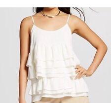 NWOT WHO WHAT WEAR Juniors/Women's ruffled tank/blouse Ivory/Cream--M