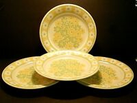 Franciscan Picnic Dinner Plates Earthenware Yellow Green White Flowers--Lot of 4