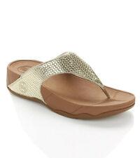 FitFlop Women's Lulu Weave Pale Gold Toning Flip Flop Comfort Sandals Size 9