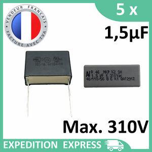 5 Capacitors Mkp X2 1, 5µF 1.5uF 1500nF 155K 155 K 310V 275V 250V