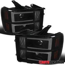 For 2007-2013 GMC Sierra 1500 HD LED DRL Bar Black Smoke Projector Headlights