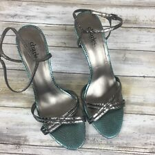 Charles David Pewter Turquoise Metallic Strappy High Heels Leather Sandals10B