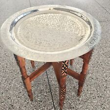 Moroccan Traditional Tray Top Round Carved Wood***NEW***