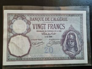 20 Francs Algérie 1928 UNC avec trou d'agraffes