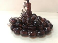 Antique Faceted Brown Damari  Cherry Amber bakelite  islamic  prayer 33 beads R1
