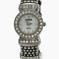 Chico's Watch Bracelet Silver Tone Clear Rhinestones Fashion Casual Cuff