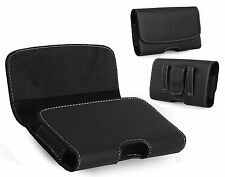 XL Size Leather Horizontal Belt Holster Carry Pouch Case for Motorola Moto E4
