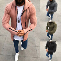 Fashion Men's Solid Color Zipper Coat Jackets Hooded Zip Up Hoodie Size L-3XL