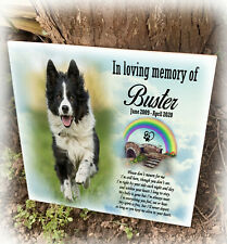 Pet dog personalised ceramic tile grave marker, Headstone plaque, Pet loss gift.