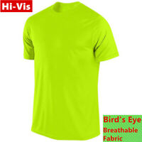 Hi Vis T Shirts High Visibility Safety Work Neon Green Sports Wear Short Sleeve