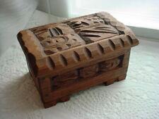Tiki Trinket Box Hand Carved Wooden Box Vtg Primitive