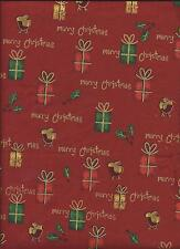 Coupon tissu patchwork noel merry christmas rouge