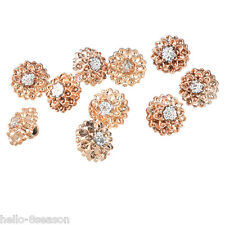 250PCs Rose Gold Rhinestone Round Shank Buttons Clothes Accessories 12mm