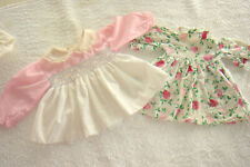 "2 VTG Doll Dresses 16"" - 18"" Dolls  Pink Floral  9"" long"