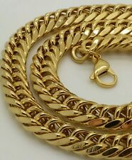 "Stainless steel 14k gold plated cuban link heavy 10mm wide 30 ""  chain necklace"