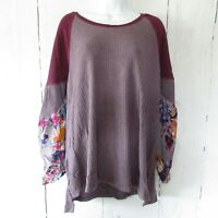 New Umgee Top 1X Purple Waffle Knit Floral Scarf Puff Sleeve Boho Peasant