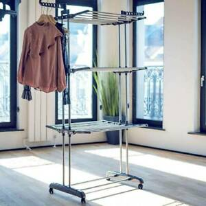 3 Tier Clothes Airer Dryer Rack Laundry Folding Washing Dry Rail Hanger Stand