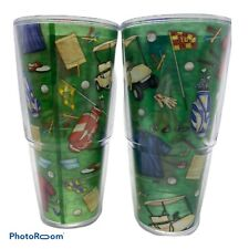 Tervis Golf Theme 24 oz Tumblers Large Cups Green Golf Cart Clubs Bag Shoes Ball