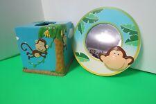 DYR Bathroom Set Of 2 Ceramic Tissue Box And Mirror Monkey Business Blue Kids