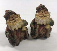 Old Style Santa Figurine Set of 2 Table Top Display Christmas Ornament Holiday