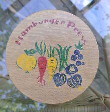 Vintage Vegetable Farm Wood Hamburger Press Mold-Hinged Lid Kitchen Wear