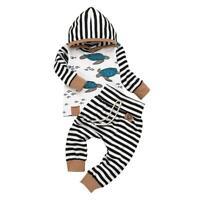 2pcs/set Autumn Turtle Stripe Print Baby Kid Long Sleeve Hoodies Tops Pants TN2F