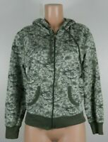 Silver Wear Women's Size Large Green Jacket Floral Hooded Zip Front Long Sleeve