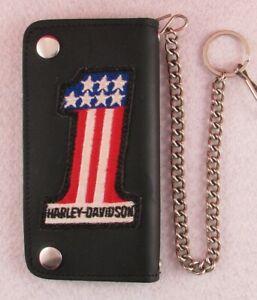 "# 1 Harley Davidson 6.5"" DILLIGAF Leather Bifold Biker Chain Motorcycle Wallet"
